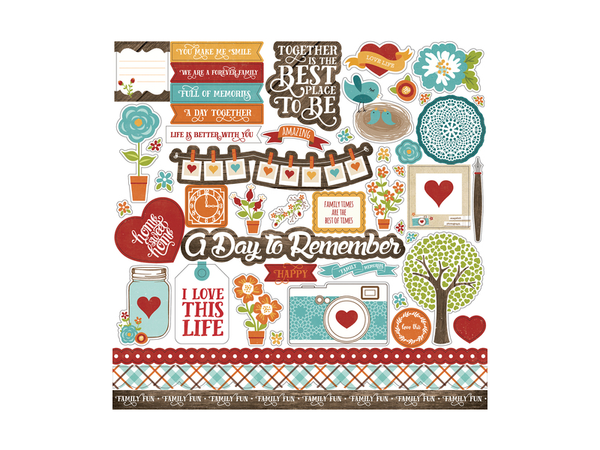 Echo Park I Love Family Collection 12 x 12 Sticker Sheet