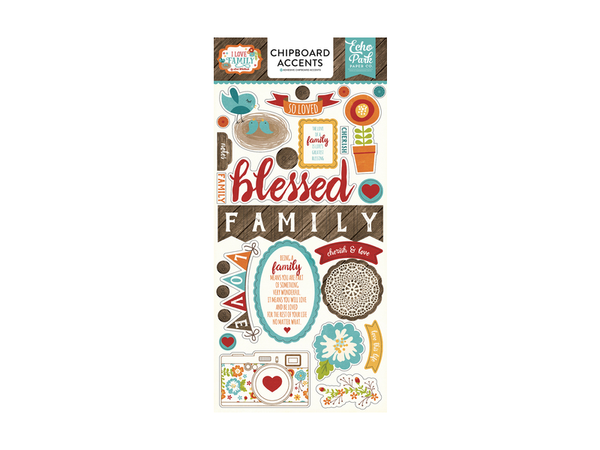 Echo Park I Love Family Collection Chipboard Stickers