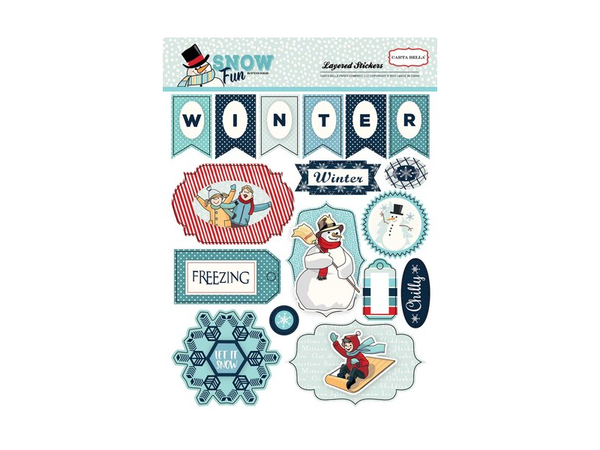 Carta Bella Snow Fun Collection Layered Stickers
