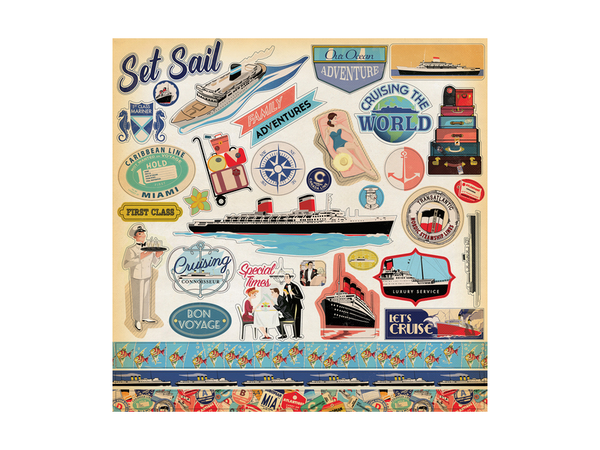 Carta Bella Let's Cruise Collection 12 x 12 Sticker Sheet