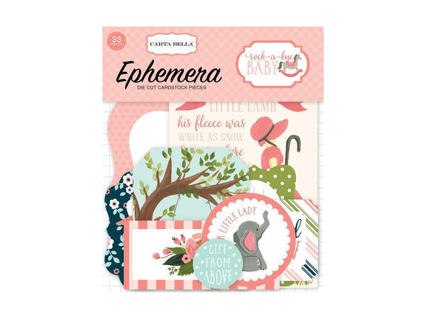 Carta Bella Rock-A-Bye Baby Girl Ephemera Packs