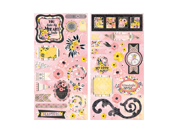 Bo Bunny Petal Lane Chipboard Stickers