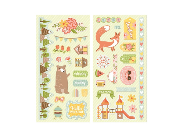 Bo Bunny Weekend Adventure Collection Chipboard Stickers
