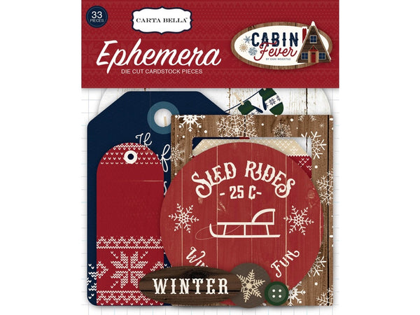 Carta Bella Cabin Fever Collection Ephemera Package or Tags and Frames