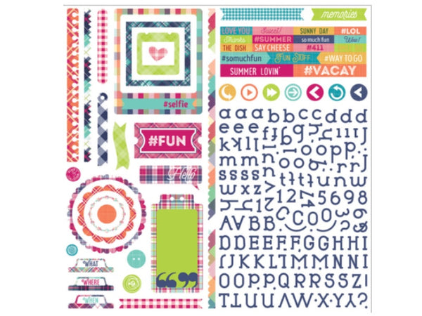 Photo Play Mad 4 Plaid Delightful Collection 12 x 12 Element Sticker Sheet