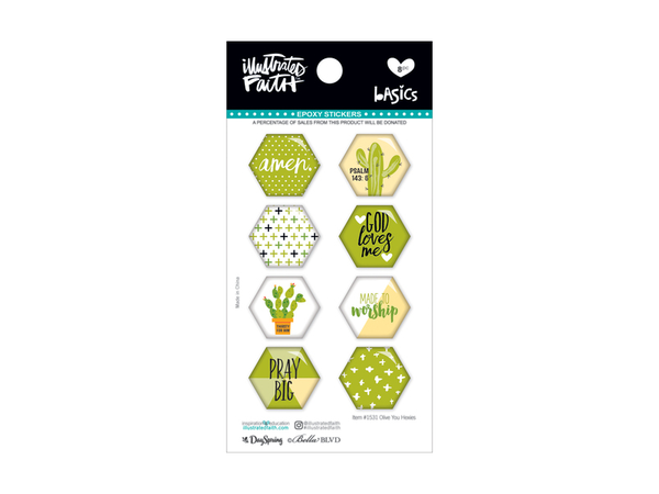 Bella Blvd Illustrated Faith Basics Collection  Hexies Epoxy Stickers