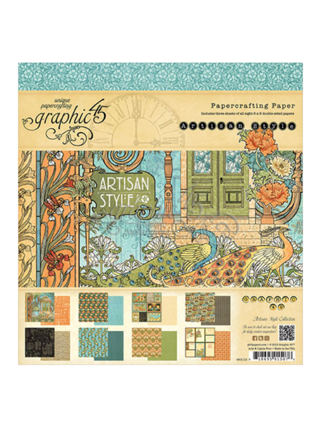 Graphic 45 Artisan Style Collection 8 x 8 Paper Pad
