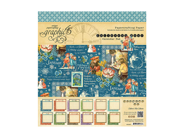 Graphic 45 Childrens Hour 8 x 8 Calendar Paper Pad