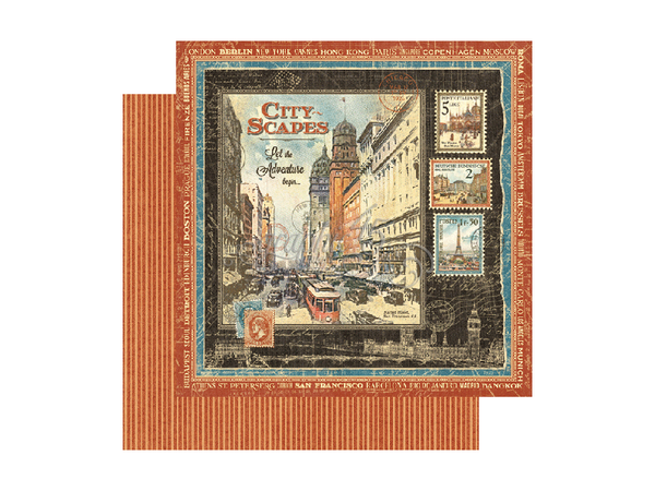 Graphic 45 Cityscapes Collection 12 x 12 Card Stock