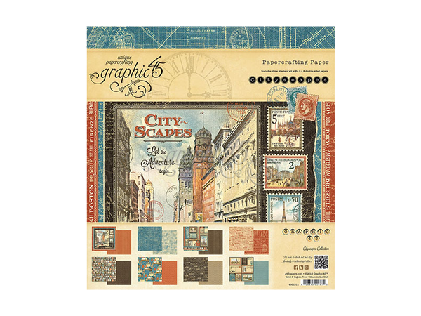 Graphic 45 City Scapes Collection 8 x 8 Paper Pad