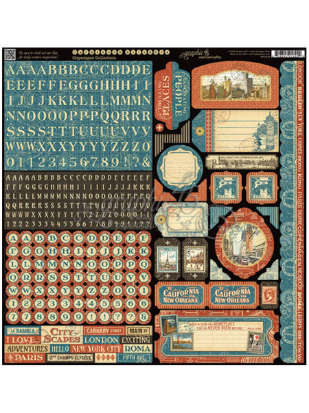 Graphic 45 Cityscapes 12 x 12 Sticker Sheet