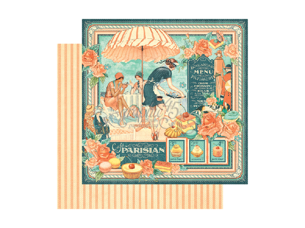 Graphic 45 Cafe Parisian Collection 12 x 12 Card Stock