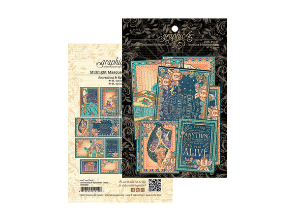 Graphic 45 Midnight Masquerade Collection Journaling and Ephemera Pack