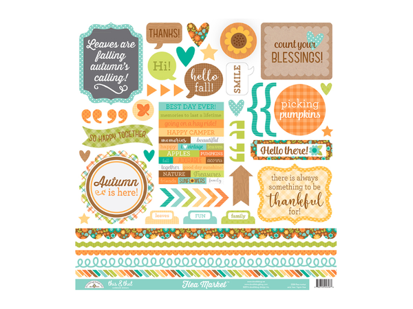 Doodlebug DesignsFlea Market Collection 12 x 12 Element Sticker Sheet