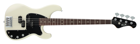 FGN Bassgitarre, J-Standard Mighty Power, Vintage White, Tasche