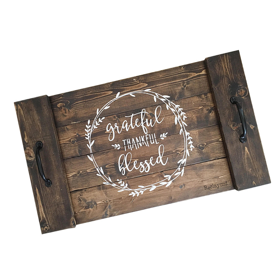 Reclaymd™ Farmhouse Serving Grateful Thankful Blessed Wood Serving Tray With Handles