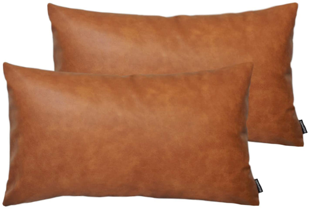 Modsmo™ Faux Leather Lumbar Throw Pillow Covers