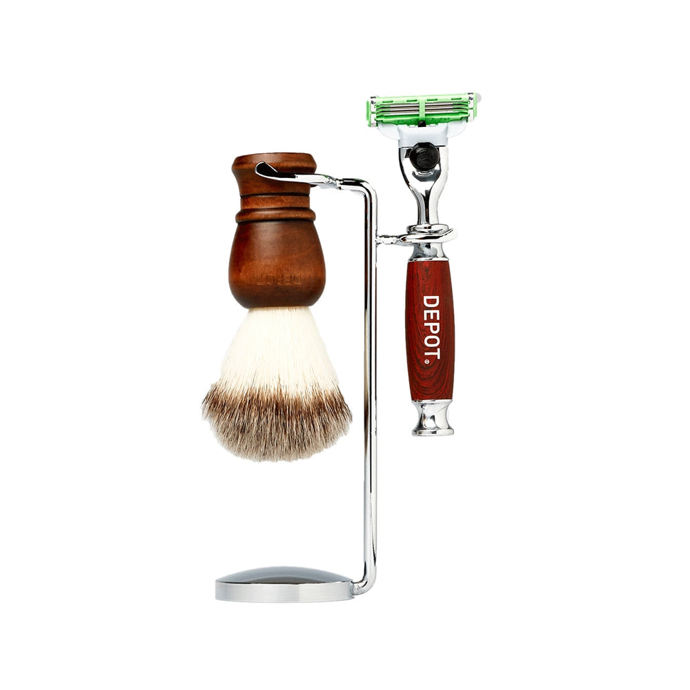 DEPOT SHAVING BRUSH AND RAZOR STAND