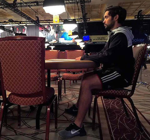 Timothy Adams at Poker WSOP tournament in Las Vegas with Humantool saddle chair