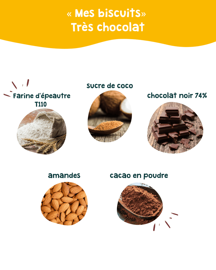 "Biscuits ""Très chocolat"" bio 570 g (30 biscuits) - SCRUNCHIZ"