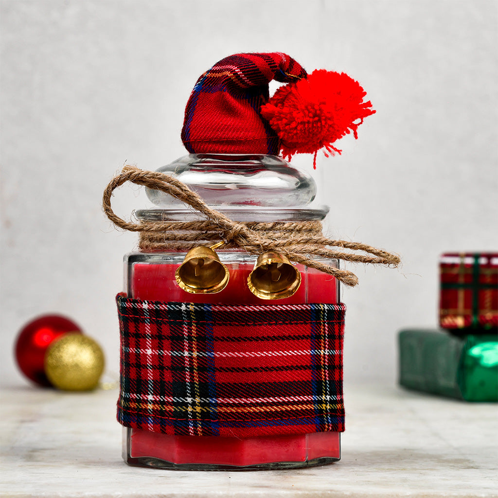 Jolly Santa Candle Jar with Lid - Vanilla Cinnamon Cake Scented