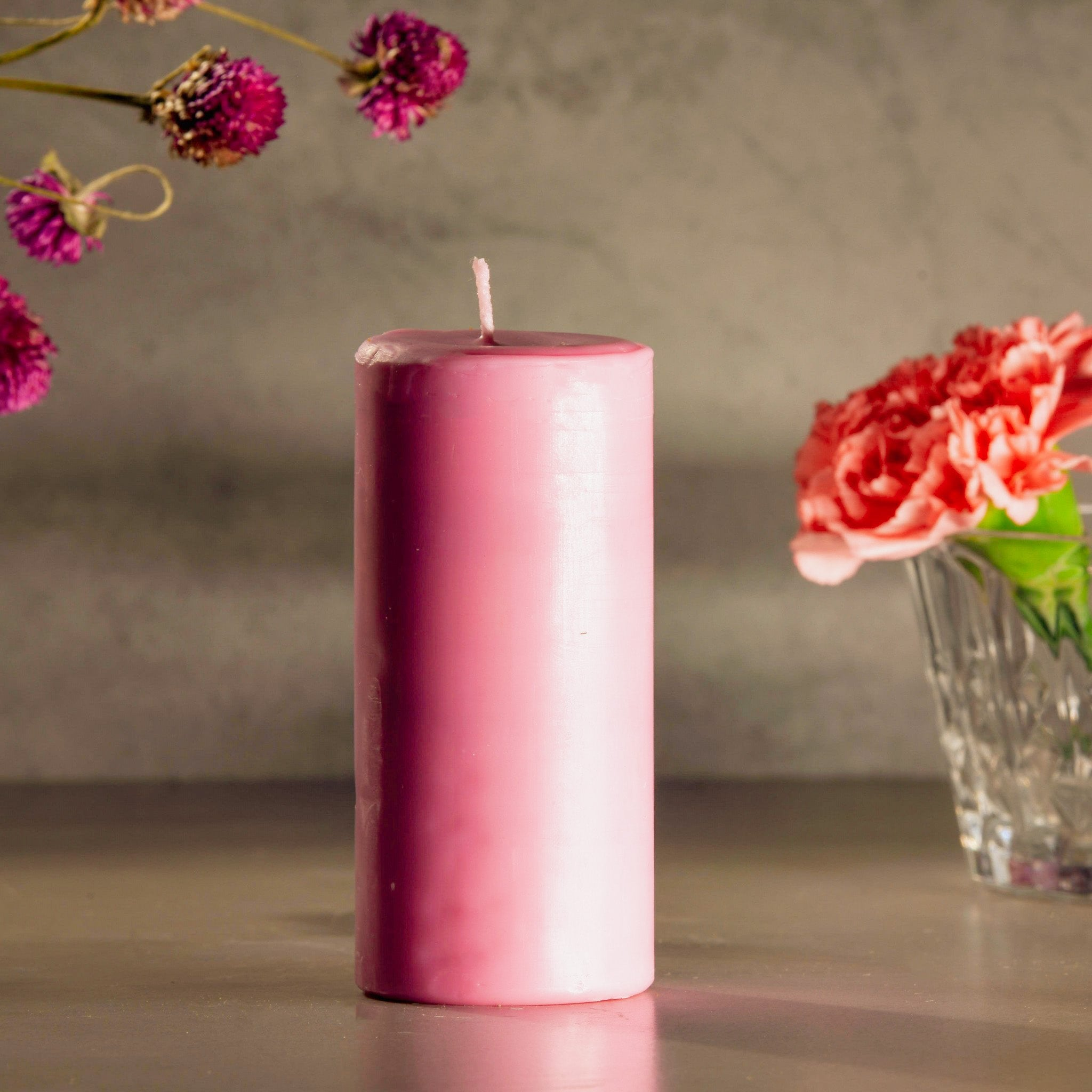 Pink Pillar Scented Soy Candles for Diwali