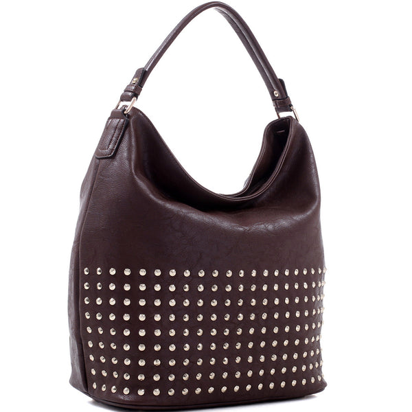 Concealed Carry Ambidextrous Studded Hobo Handbag w/ Holster