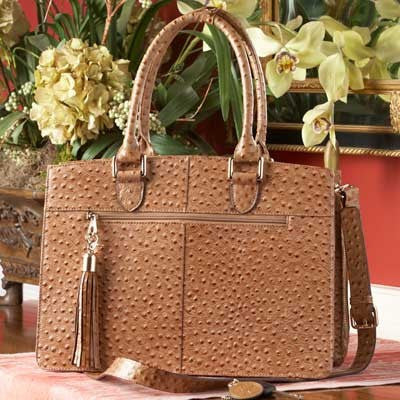 Concealed Carry Ostrich Print Leather Computer Handbag Gun Purse Tote