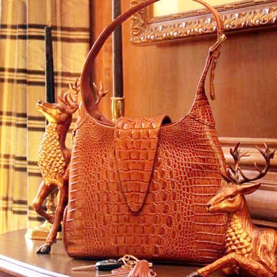 Concealed Carry Crocodile Print Leather Hobo Handbag Gun Purse