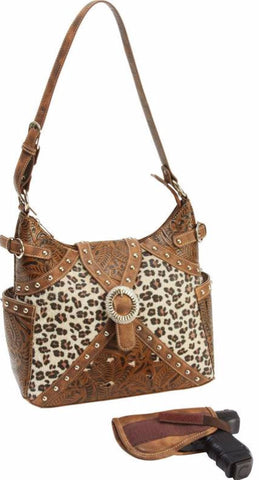 Concealed Carry Ambidextrous Tooled Western Leopard Handbag Purse w/ Holster