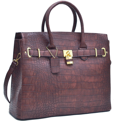 Chic Croco Embossed Satchel Handbag w/ Padlock
