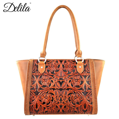 Delila 100% Genuine Leather Tooled Structured Purse