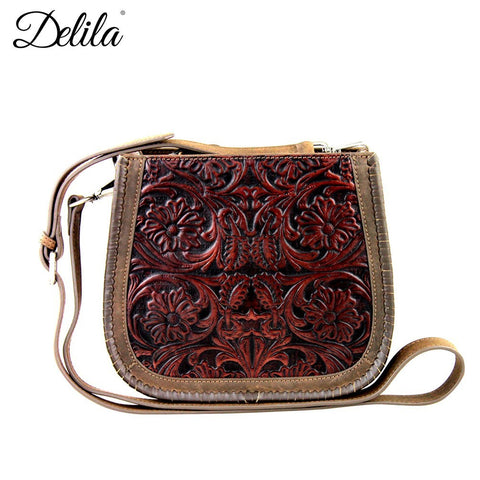 Delila 100% Genuine Leather Tooled Cross Body Purse