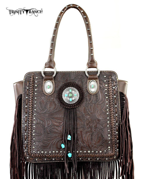 Trinity Ranch Tooled Leather Fringe Handbag