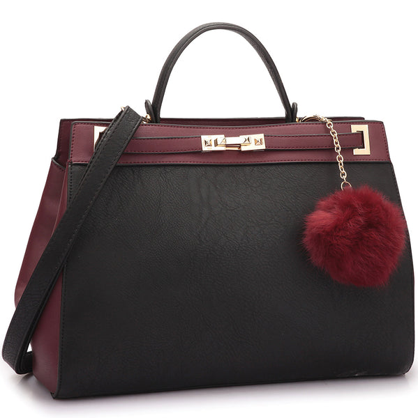 Color Block Lock Satchel Handbag w/ Decorative Fur Ball Pom Pom