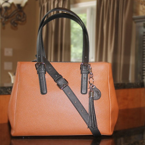 Concealed Carry Ambidextrous Tan & Brown Color Block Satchel Purse w/ Holster