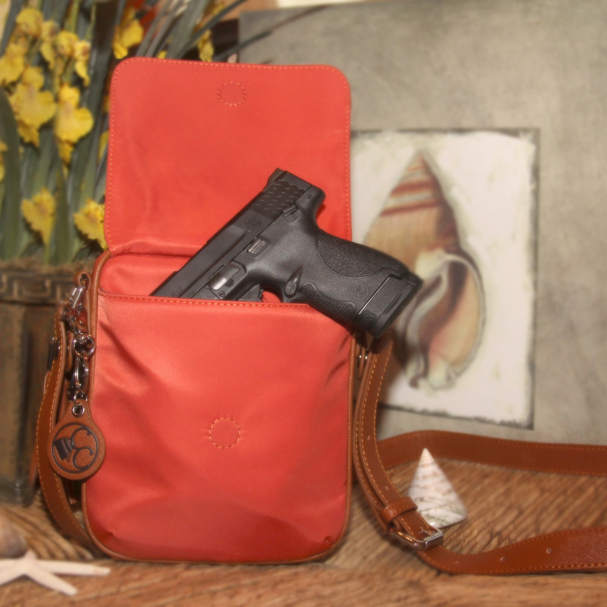 Concealed Carry Ambidextrous Compact Crossbody Purse w/ Holster