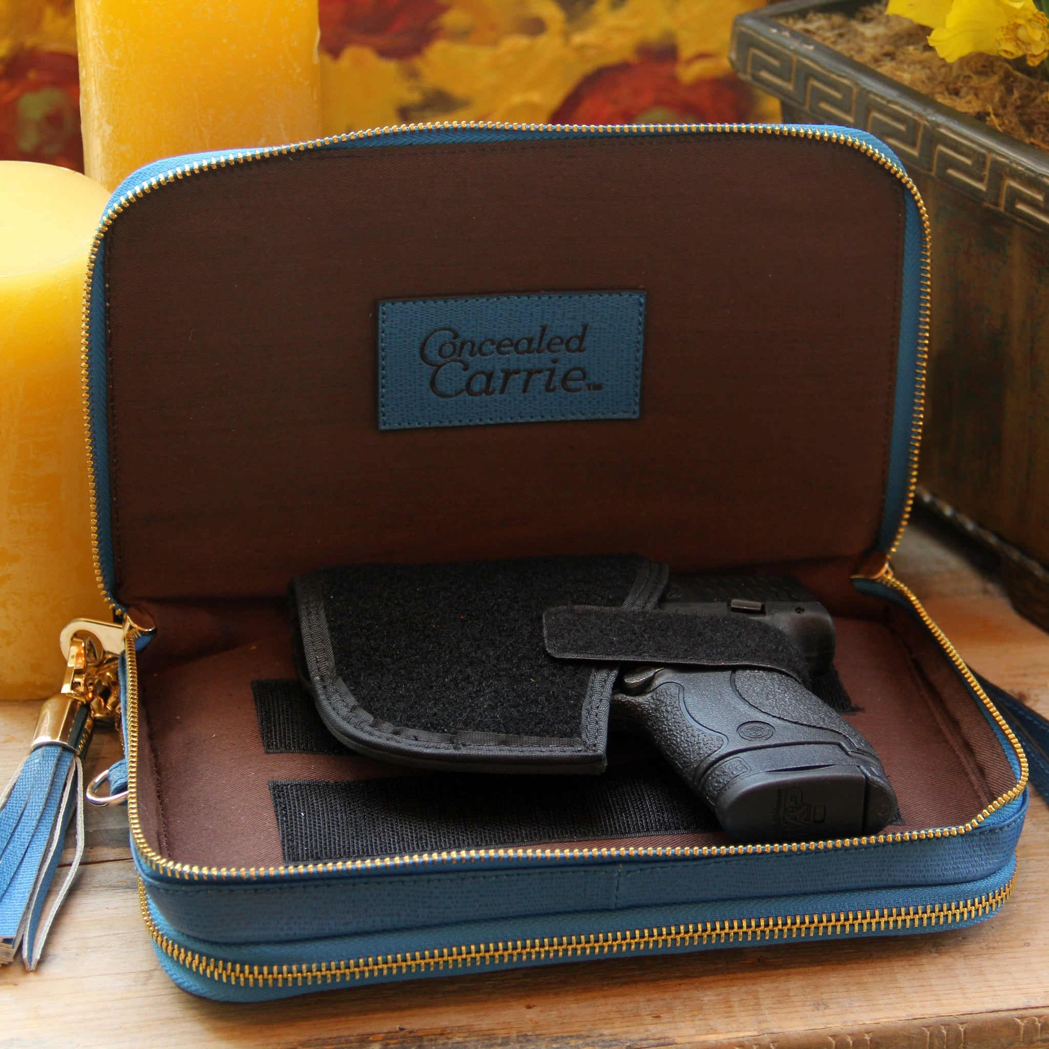 Concealed Carry Leather Compact Clutch Purse w/ Adjustable Holster