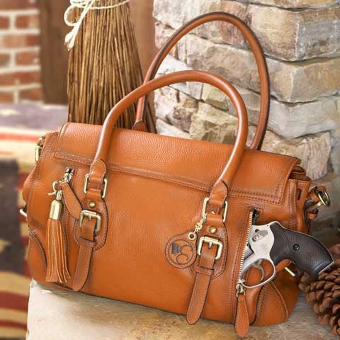 Concealed Carry Aged Leather Ambidextrous Satchel Handbag w/ Holster