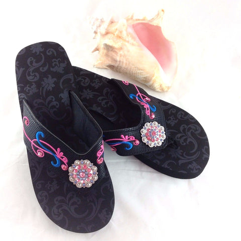 Embroidered Flip Flops Sandals w/ Colorful Crystal Conchos