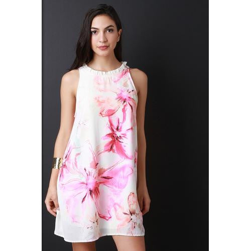Watercolor Floral Print Ruffle Neckline Shift Dress