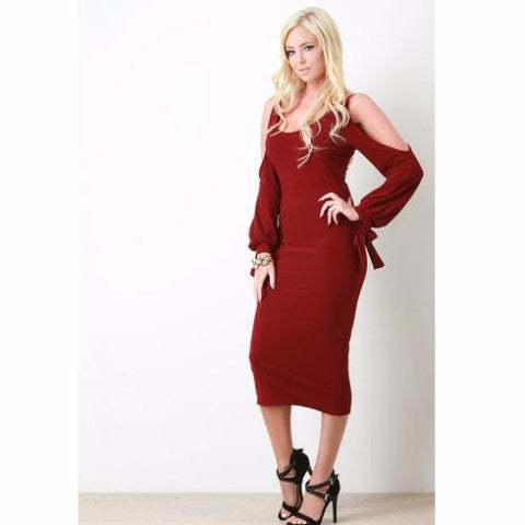Cold Shoulder Self-Tie Cuff Longsleeve Dress