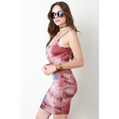 Sleeveless Tie Dye Mini Bodycon Dress