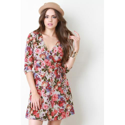 Floral Print Fuzzy Knit Surplice Skater Dress