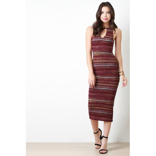 Marled Ribbed Knit Striped Midi Dress