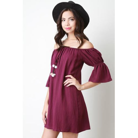 Off The Shoulder Pom Pom Tassel Shift Dress