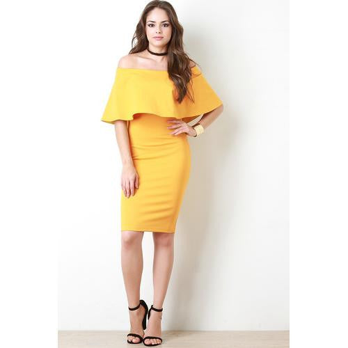 Flutter Bardot Bodycon Dress