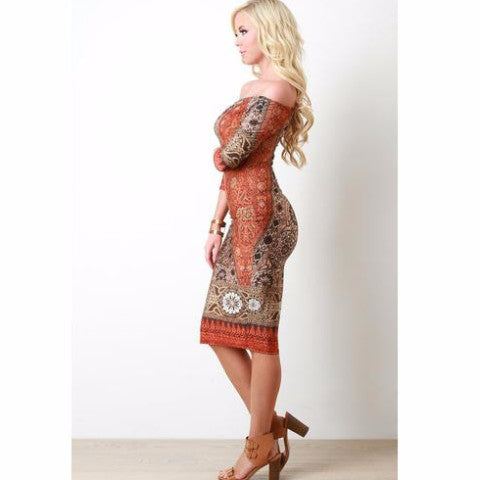 Bohemian Print Bardot Midi Dress