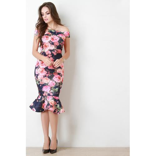 Floral Print Wide Band Off The Shoulder Midi Dress
