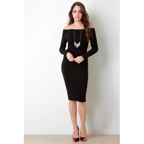 Banded Off-The-Shoulder Long Sleeve Jersey Dress